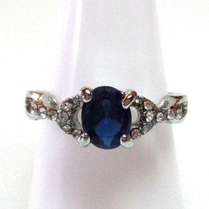 #392 Ring Size 9 Simulated Diamond Sapphire